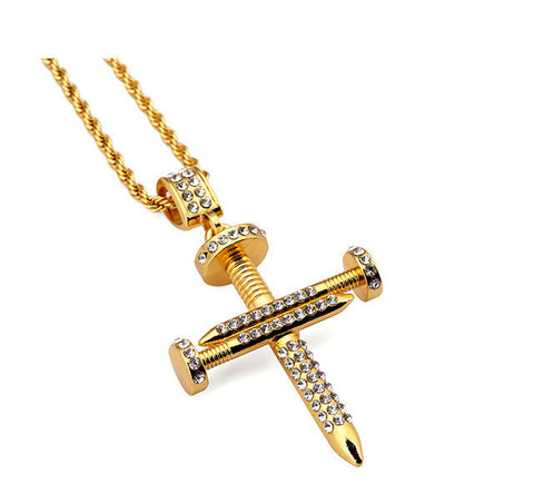 Nail Gold Plated Cross Necklace