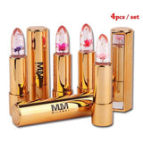 4 PIECE SET-JELLY FLOWER LIPSTICKS - COLOR CHANGING GLOSSY LIP TINT