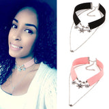 Velvet Crystal Flower Leather Choker