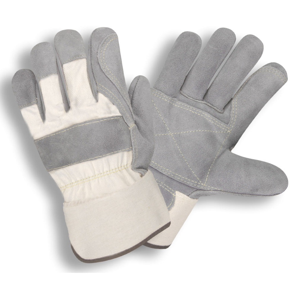 Side Split Double Leather Palm Gray & White