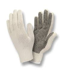 One-Side PVC Dots Natural Gloves