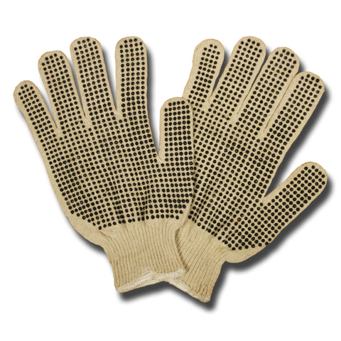 Two-Side PVC Dots Natural 13-Gauge Gloves