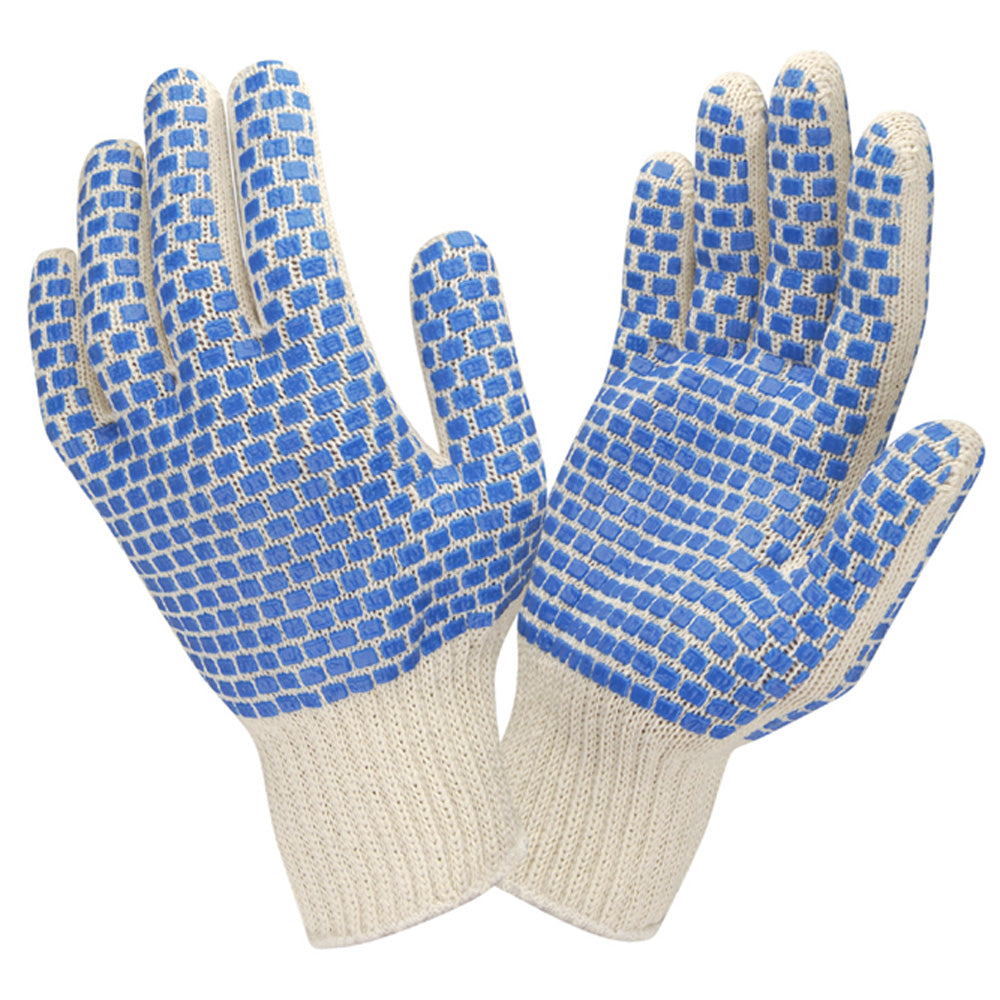 Two Side Blue PVC Block Pattern Gloves