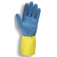 Load image into Gallery viewer, Premium Neoprene On Latex Blue & Yellow Gloves