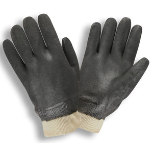 Sandpaper PVC/Knit Wrist Black Gloves
