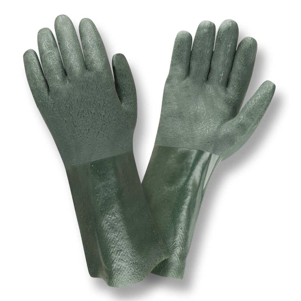 Etched PVC 14-IN Green Gloves