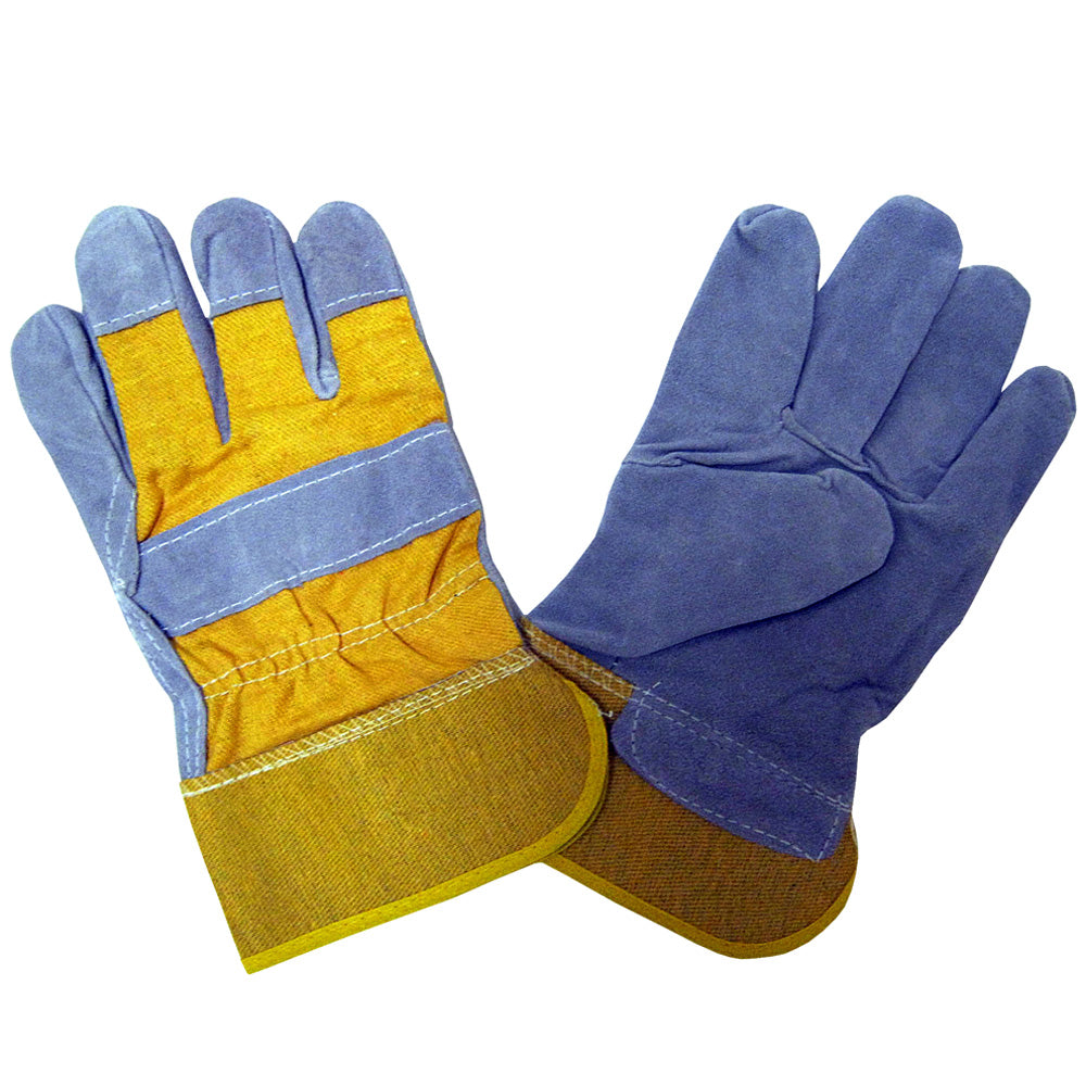 Shoulder Split Rubberized Cuff Yellow And Blue Gloves