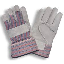 Premium Shoulder Gray Leather Canvas Back Gloves