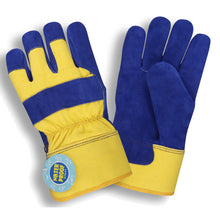 Load image into Gallery viewer, Split Cowhide Leather Blue And Yellow Gloves