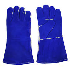 Shoulder Blue Leather Welder Gloves