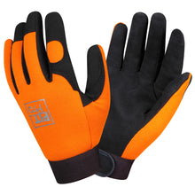 Load image into Gallery viewer, Pit Pro Black And Orange Synthetic Leather Gloves