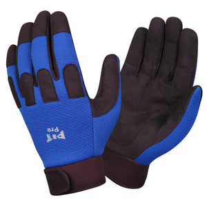 Pit Pro Blue & Black Synthetic Leather Palm GLoves