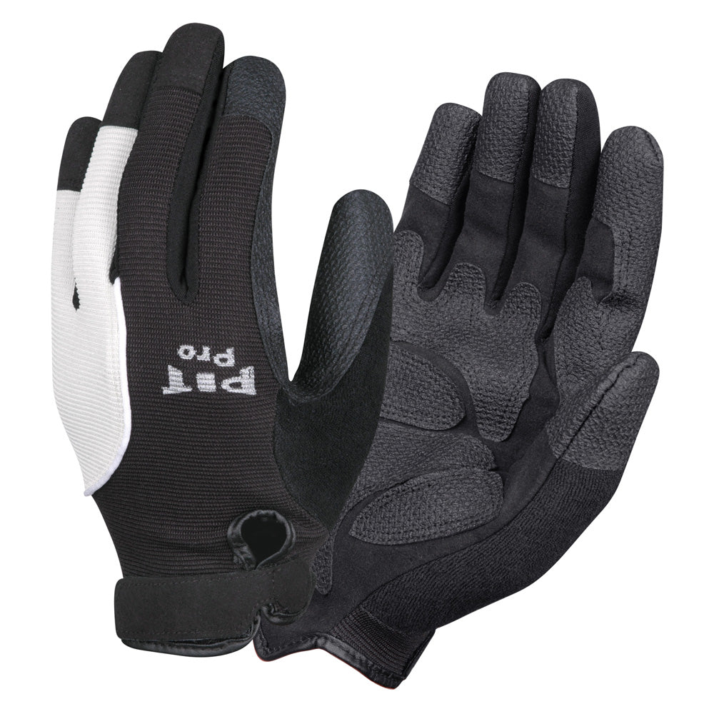 Pit Pro White & Black Synthetic Leather Palm Gloves