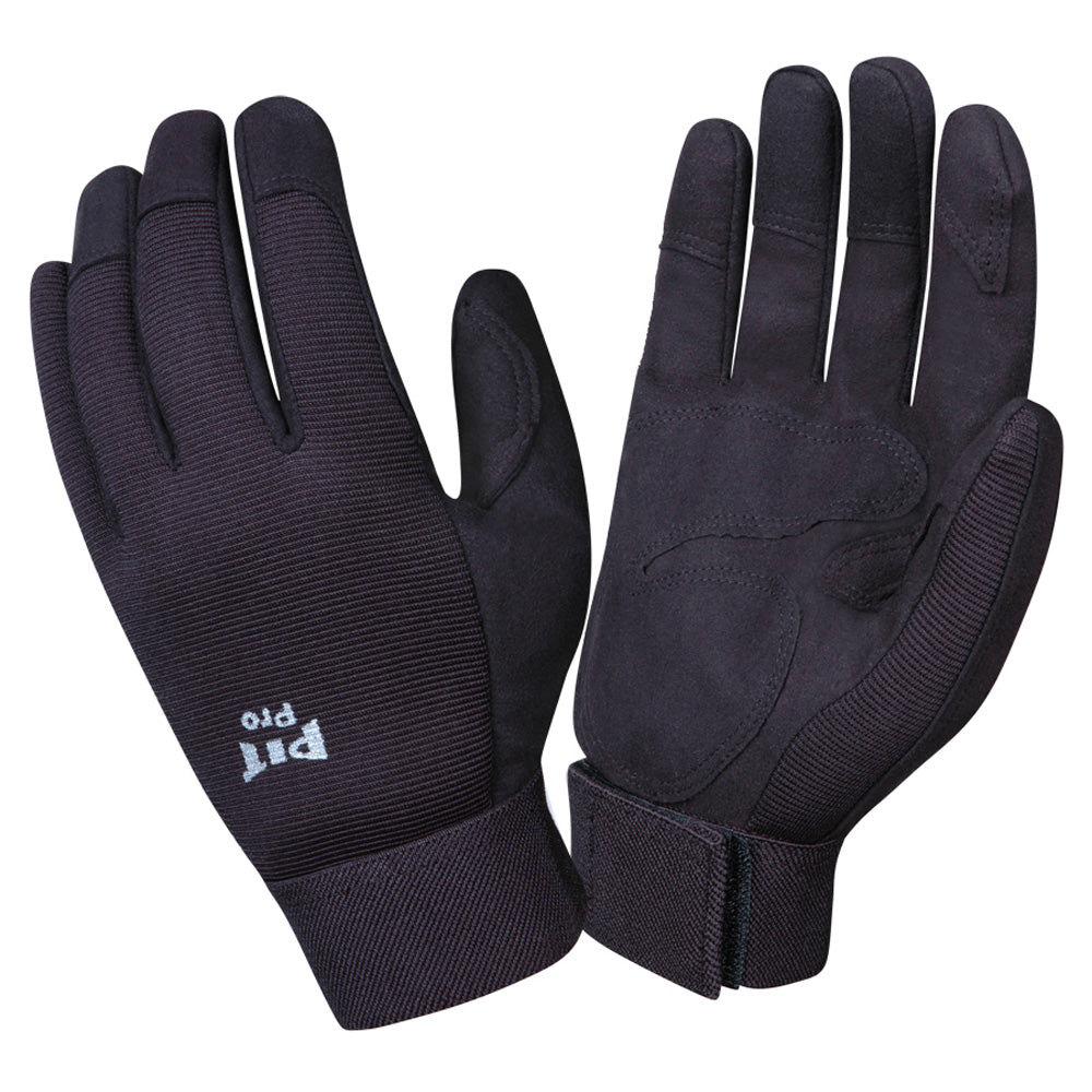 Pit Pro Black Synthetic Leather Palm Gloves