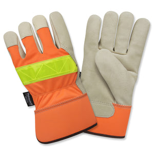 Premium Hi-Viz Pigskin Leather Palm Gloves