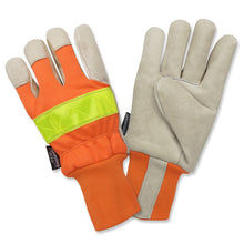 Load image into Gallery viewer, Premium Hi-Viz Pigskin Leather Palm Extended Knit Wrist Gloves