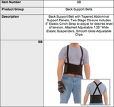 Black Back Support Belt with Attached Suspenders