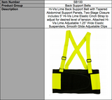 High Visibility Back Support Belt with Attached Lime Suspenders