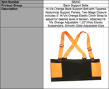 High Visibility Back Support Belt with Attached Orange Suspenders