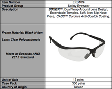 Load image into Gallery viewer, Boxer Indoor/Outdoor Safety Glasses