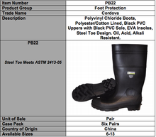 Load image into Gallery viewer, Black PVC Boots-Steel Toe