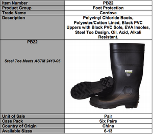 Black PVC Boots-Steel Toe