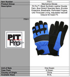 Pit Pro Black And Blue Insuated Gloves