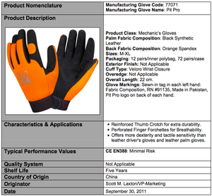 Pit Pro Black And Orange Synthetic Leather Gloves