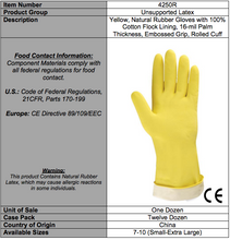 Load image into Gallery viewer, Standard Yellow Flocked Latex Gloves