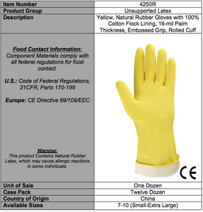Standard Yellow Flocked Latex Gloves