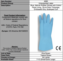 Load image into Gallery viewer, Premium Blue Flocked Latex Gloves
