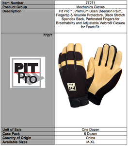 Pit Pro Premium Deerskin Leather Palm Gloves