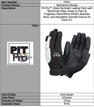 Load image into Gallery viewer, Pit Pro White & Black Synthetic Leather Palm Gloves
