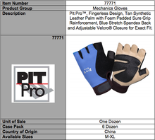 Load image into Gallery viewer, Pit Pro Tan Synthetic Leather Palm Gloves