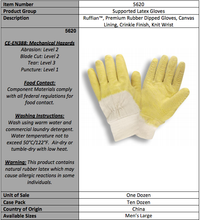 Load image into Gallery viewer, Economy/Canvas Supported Latex Gloves
