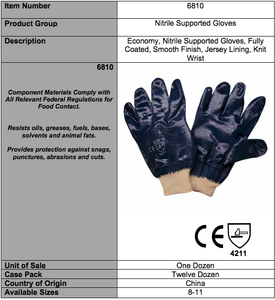Standard Nitrile Smoot/Jersey Lining Gloves