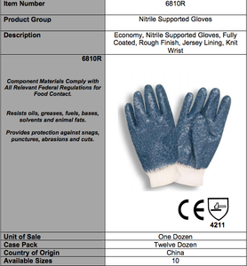 Standard Nitrile Rough Finish/Knit Wrist Gloves