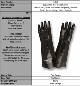 Black Neoprene Smooth Supported 18-IN Gloves