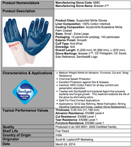 Brawler II Premium Nitrile Smooth/Palm Coated Gloves