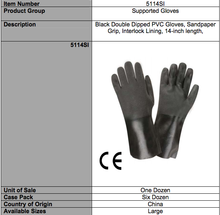 Load image into Gallery viewer, Sandpaper PVC 14-IN Black Gloves
