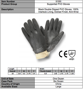 Etched PVC/Knit Wrist Gloves