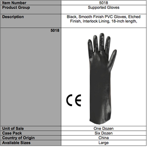 Smooth PVC 18-In Gloves