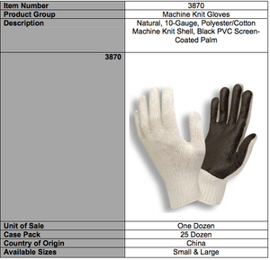 Solid Dark Brown PVC Palm Gloves