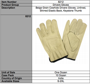 Standard Grain Cowhide Driver Gloves