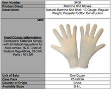 Load image into Gallery viewer, Natural 13-Gauge Standard Gloves