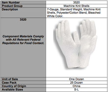 Load image into Gallery viewer, Bleached White Standard Weight 7-Gauge Gloves