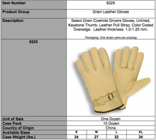 Load image into Gallery viewer, Select Grain Driver Leather Pull Strap Gloves