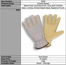 Load image into Gallery viewer, Select Grain Split Gray Driver Gloves