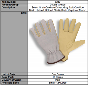 Select Grain Split Gray Driver Gloves