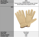 Premium Grain Driver Beige Leather Gloves